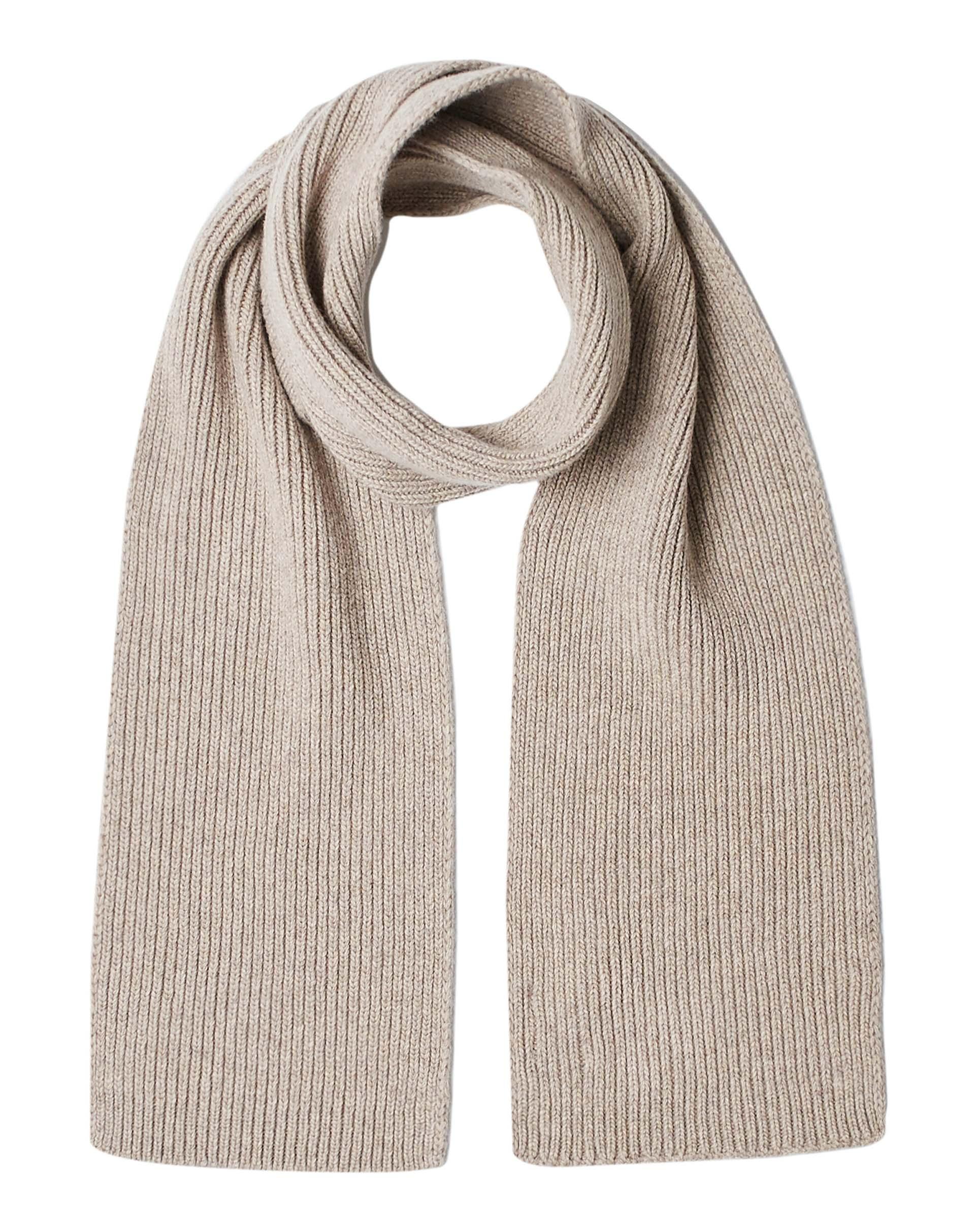 ШарфПлатки и Шарфы<br>Вязаный шарф из шерстяной пряжи. Фактура в рубчик, универсальный размер. Размеры: 180*17 см.<br>Цвет: Бежевый; Размер: OS;