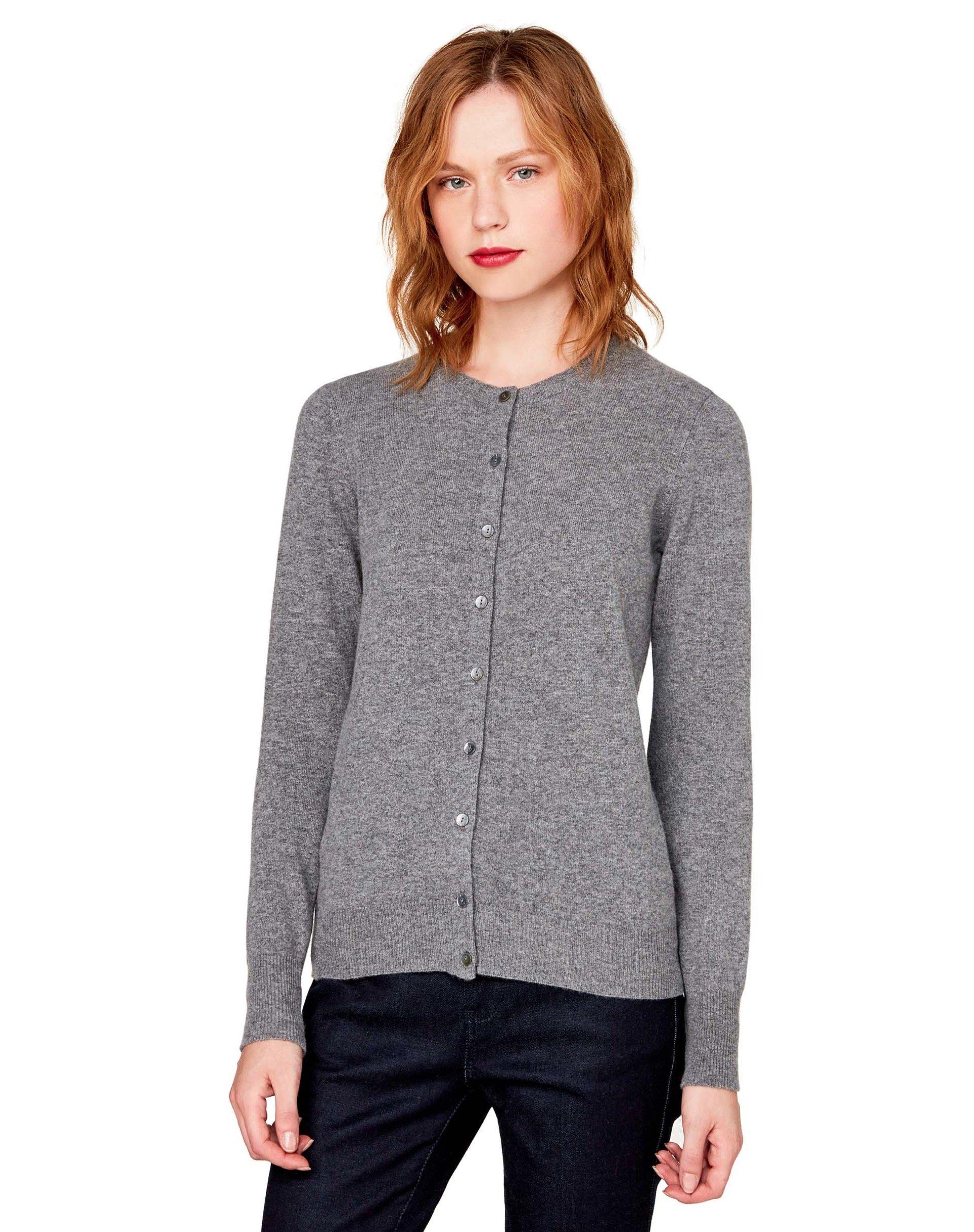 КардиганКардиганы<br>Кардиган с длинным рукавом из 100% шерсти.<br>Цвет: Серый; Размер: XL;