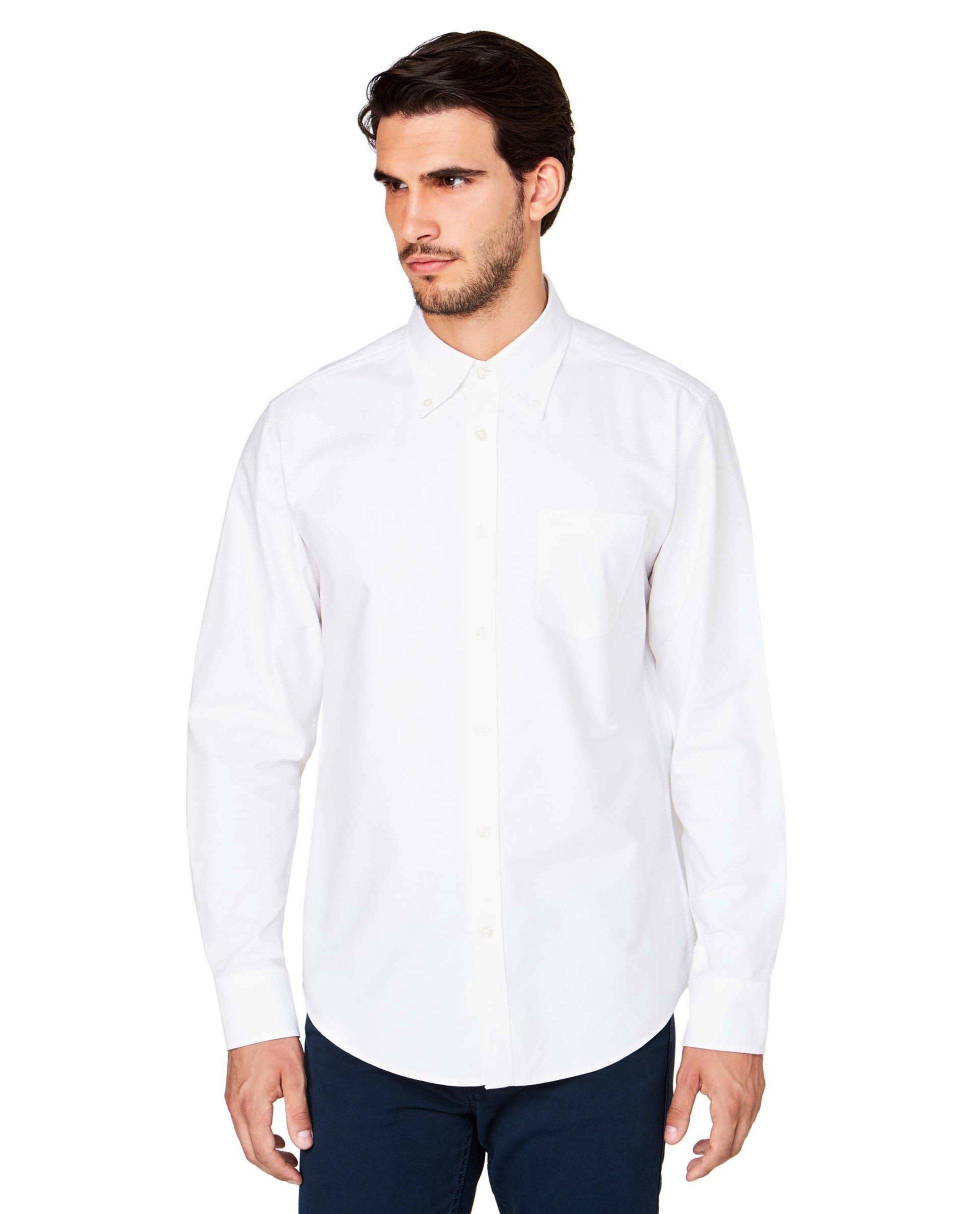 РубашкаКлассические<br>Рубашка с длинным рукавом из 100% хлопка Оксфорд, с итальянским воротничком и застежкой на пуговицы. Вышитый логотип Benetton на кармашке слева на груди, округленный низ и кокетка сзади. Посадка регулар.<br>Цвет: Белый; Размер: S;