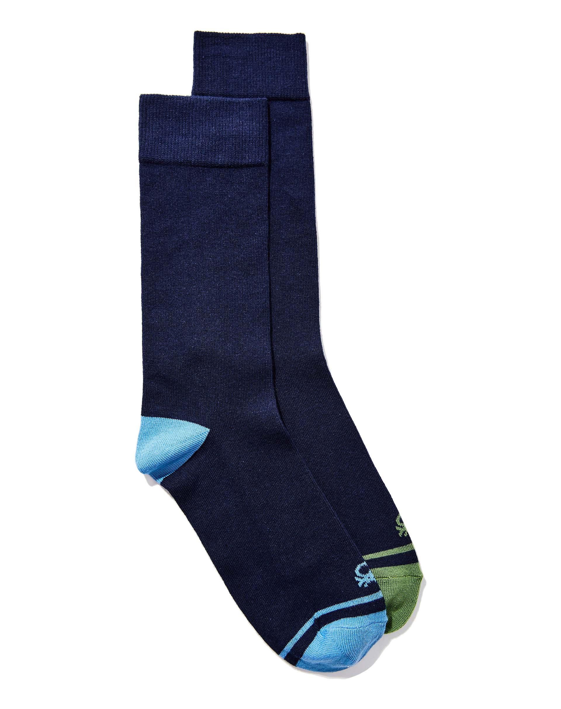 Комплект носков 2 парыНижнее белье<br>Комплект носков состоит из двух пар. Удлиненная модель выполнена из хлопкового трикотажа с добавлением синтетических волокон для большей износоустойчивости. Мягкая эластичная манжета в рубчик.<br>Цвет: Синий; Размер: OS;