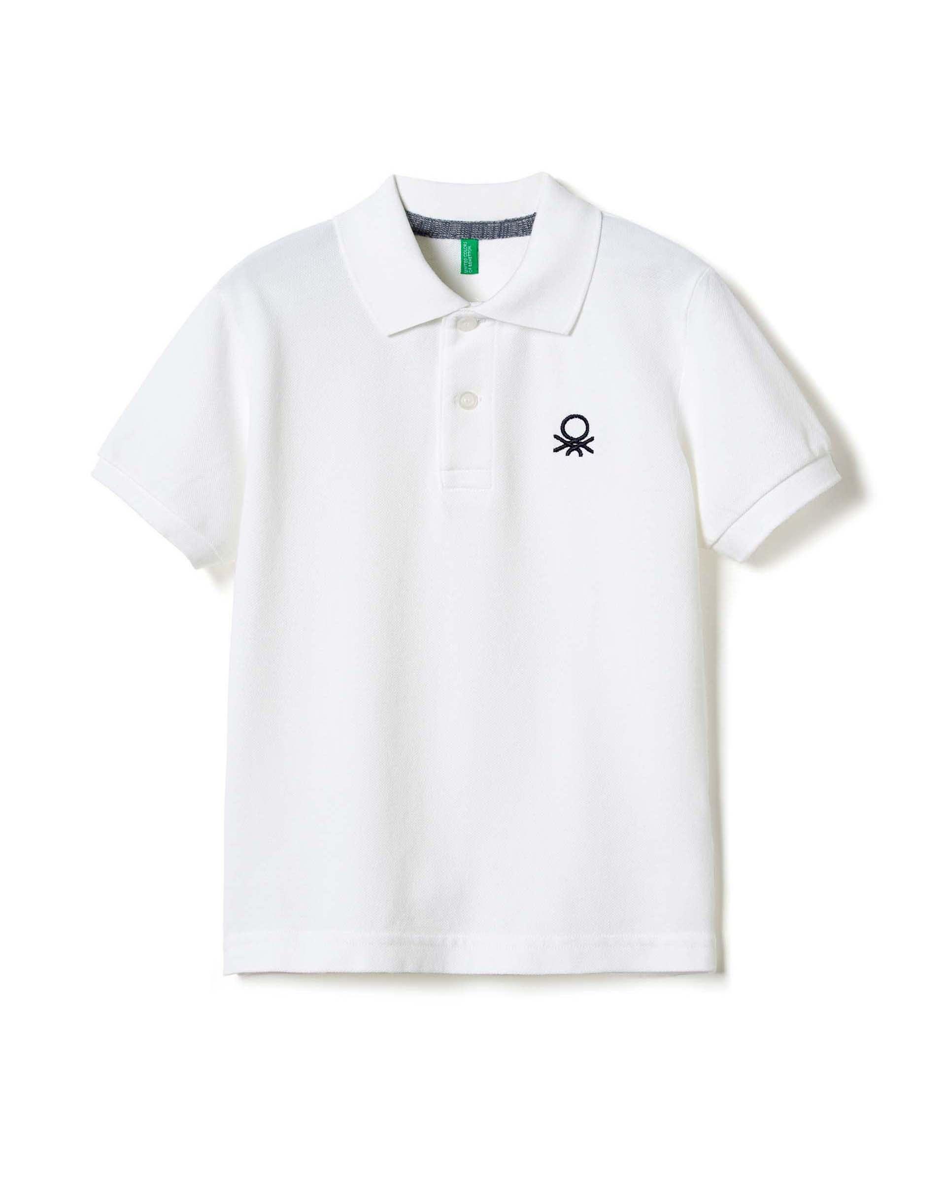 Поло с лого из 100% хлопка от Benetton