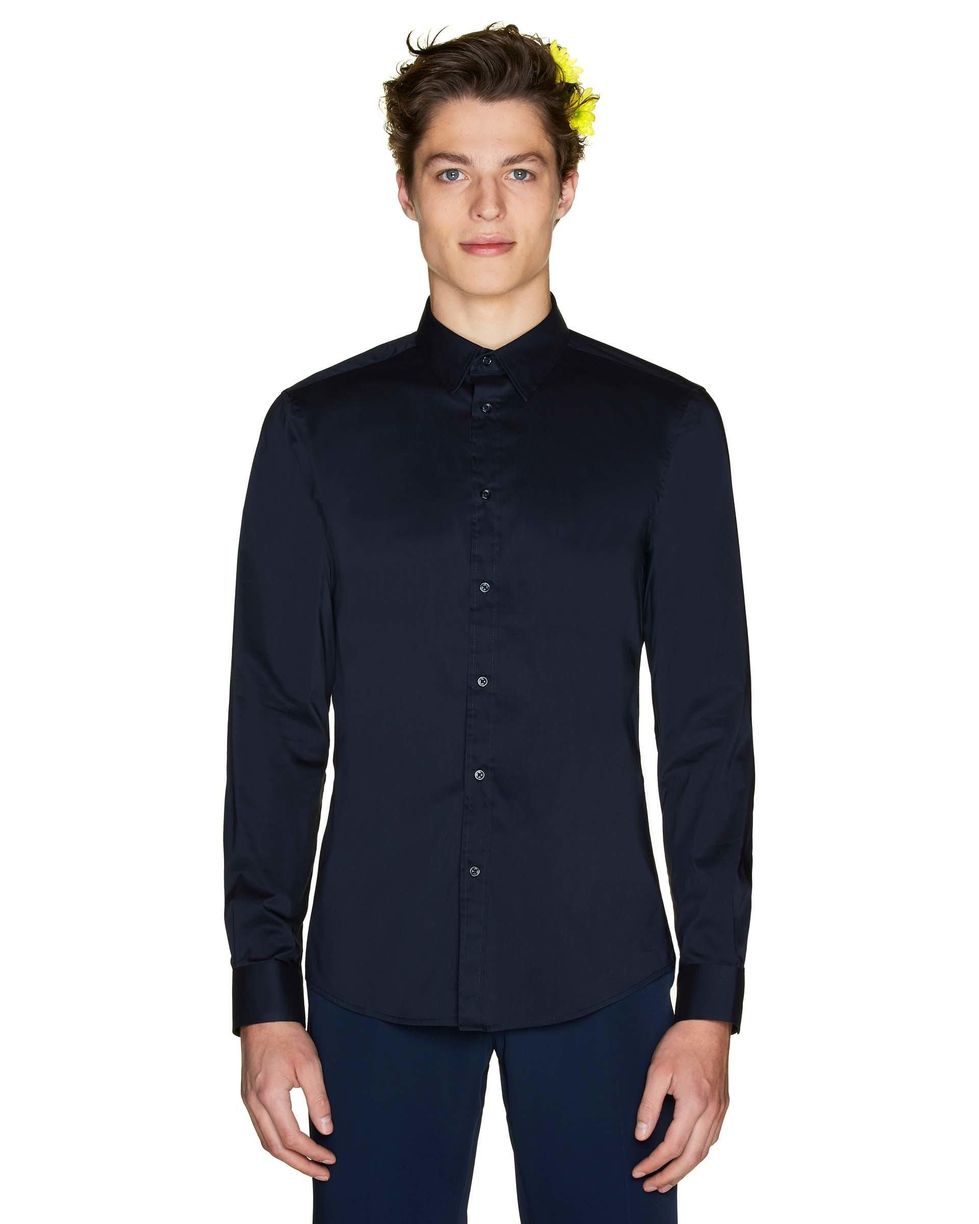 РубашкаКлассические<br>Цветы на фотографиях не являются товаром и продаже не подлежат.<br>Цвет: Синий; Размер: S;